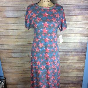 LuLaRoe Maria Dress Womens Size Small Star Print